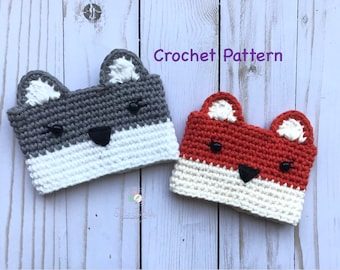 Crochet Wolf / Fox Cup Cozy PATTERN, Digital Download Wolf / Fox Cup Cozy PATTERN Crochet