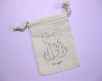 set of 10  baby shower muslin favor bags 3.5 inch by 5 inch - its's a girl favor bags - baby bunny - baby rabbit - gift bags