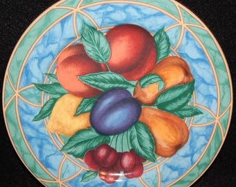 ON SALE Victoria & Beale FORBIDDEN Fruit 9024 Salad Plate Fruit in Center on White Background Circa 1995 Made in Indonesia Excellent Conditi