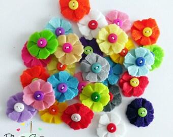 Aplique, Aplique flores, apliques fieltro, adornos, materiales fieltro, broche fieltro, material para diademas, accesorio cabello
