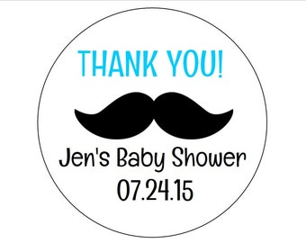 12 Thank You Baby Shower Stickers, Mustache Stickers, Envelope Stickers, Its a Boy, Personalized Stickers, Mustache Shower, Little Man