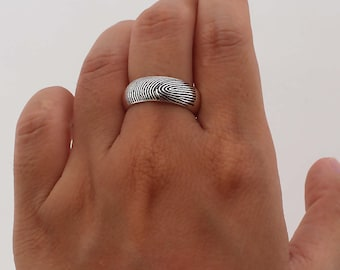 SALE 20% OFF - Actual Signature Ring - Your Actual Fingerprint Ring - Handwriting Ring - Silver Jewelry - Bridal Sets