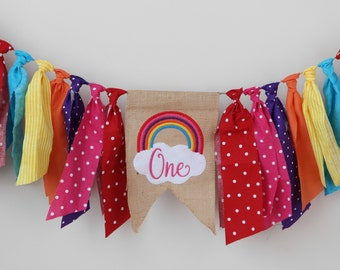 RAINBOW party colorful highchair birthday party banner first birthday one summer birthday burlap rainbow baby