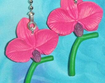 Set of Two ~ Beautiful Hot Pink Orchid Flower Garden ~ Ceiling Fan Pulls