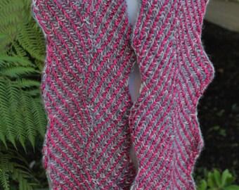 Raspberry and Gray Hand Knit Pure Merino Wool Brioche Scarf