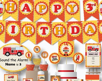 Fire Truck Birthday Decorations PDF Party Package Printable Editable - Banner, Favors, Centerpieces, Cake Topper, Cupcakes, Invitation
