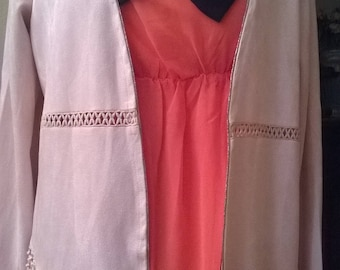 Pink suede long sleeve jacket