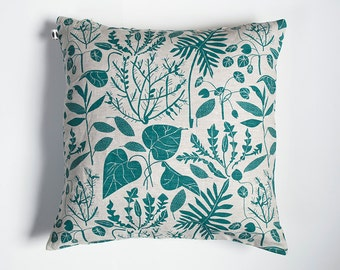 Teal Green House Plants Pillow - Linen