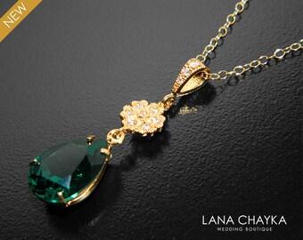 Green gold necklace etsy emerald gold crystal necklace swarovski emerald rhinestone pendant green teardrop wedding necklace bridal bridesmaid necklace aloadofball Image collections