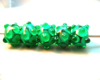 Set of handmade green lampwork Beads with Dots