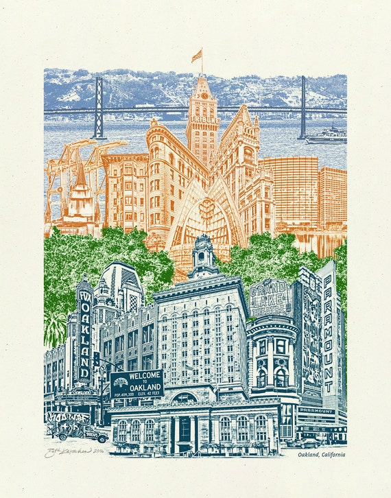Oakland, California Art Print - Poster - Collage of Landmarks - 8.5x11, 11x14, 16x20