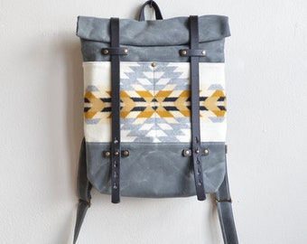 Waxed Canvas Backpack Made with  Pendleton® Wool Fabric / Canvas Backpack / Travel Backpack / Waxed Canvas Bag / Laptop Canvas Backpack