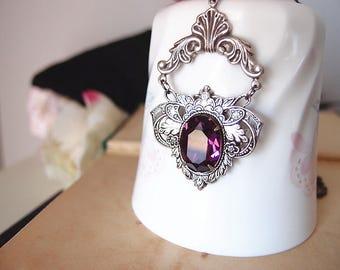 Swarovski amethyst crystal Victorian necklace