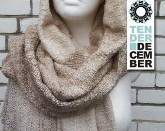 Blanket shawl, white and beige, handmade weaving, acrylic shawl, beige scarf, weaving shawl women, handmade shawl, big scarfs, woven shawl