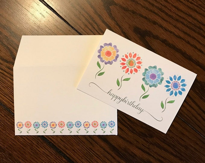 "Fun Flowers Watercolor Art ~ Matching Card and Envelope Set (4"" x 6"" Folded) Digital Download ~ Printable / Blank Card / Flowers / Art"
