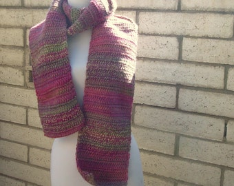 SCARF - Floral: Wool Blend Multicolor Scarf for Women - Crochet Scarf - Hoooked Scarves - Multicolor Fashion Shades of Green Pink Purple