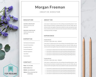 """Resume Template   Professional Resume Template for Word   CV Resume + Cover Letter   4 Page Pack   Instant Download Resume   """"Morgan"""""""