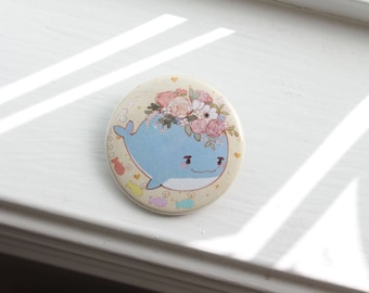 "Flower Whale 1.5"" Pinback Button"