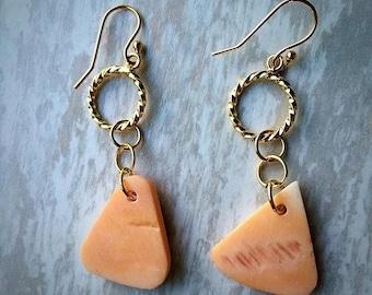 Gold Nautical Queen Conch Shell Earrings