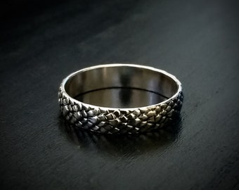 Silver Ring, Dragon Scale Ring, Dragon Ring, Sterling Silver Ring, Dragon Jewelry, Unique Wedding Band, Stackable Ring, Silver Stacking Ring