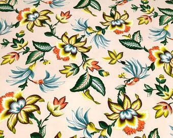 "Hollywood Glam Tropical Sporting Dr Seuss Flowers // Mid Century Barkcloth Era Fabric// Cotton Yardage// Upholstery// Drapery// 48""x 55"""