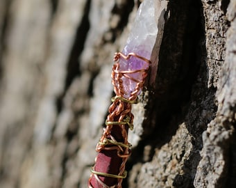 Magic Wand - Purpleheart and Amethyst, Wiccan Wand, Pagan Wand, Wizard Wand, Magical Girl Wand, Wood Wand, Witch Wand,  Magick Wand, Wand