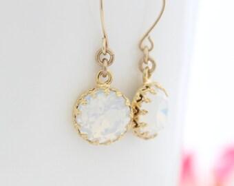 Opal earrings | Gold earrings set with white opal Swarovski rhinestones | Opal drop earrings