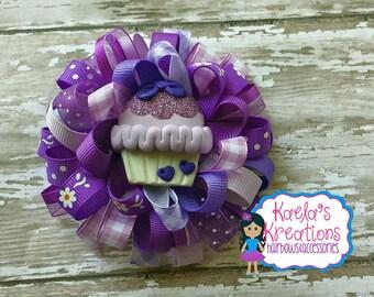 Purple Hair Bows, Cupcake Hair Bows, Purple Cupcake Hair Bows, Purple Loopy Hair Bows, Cupcake Birthday, Purple Loopy Cupcake Hair Bows.