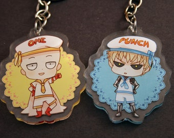 One-Punch Man Double-sided Clear Acrylic keychain, Saitama, Genos, Sailor Suit