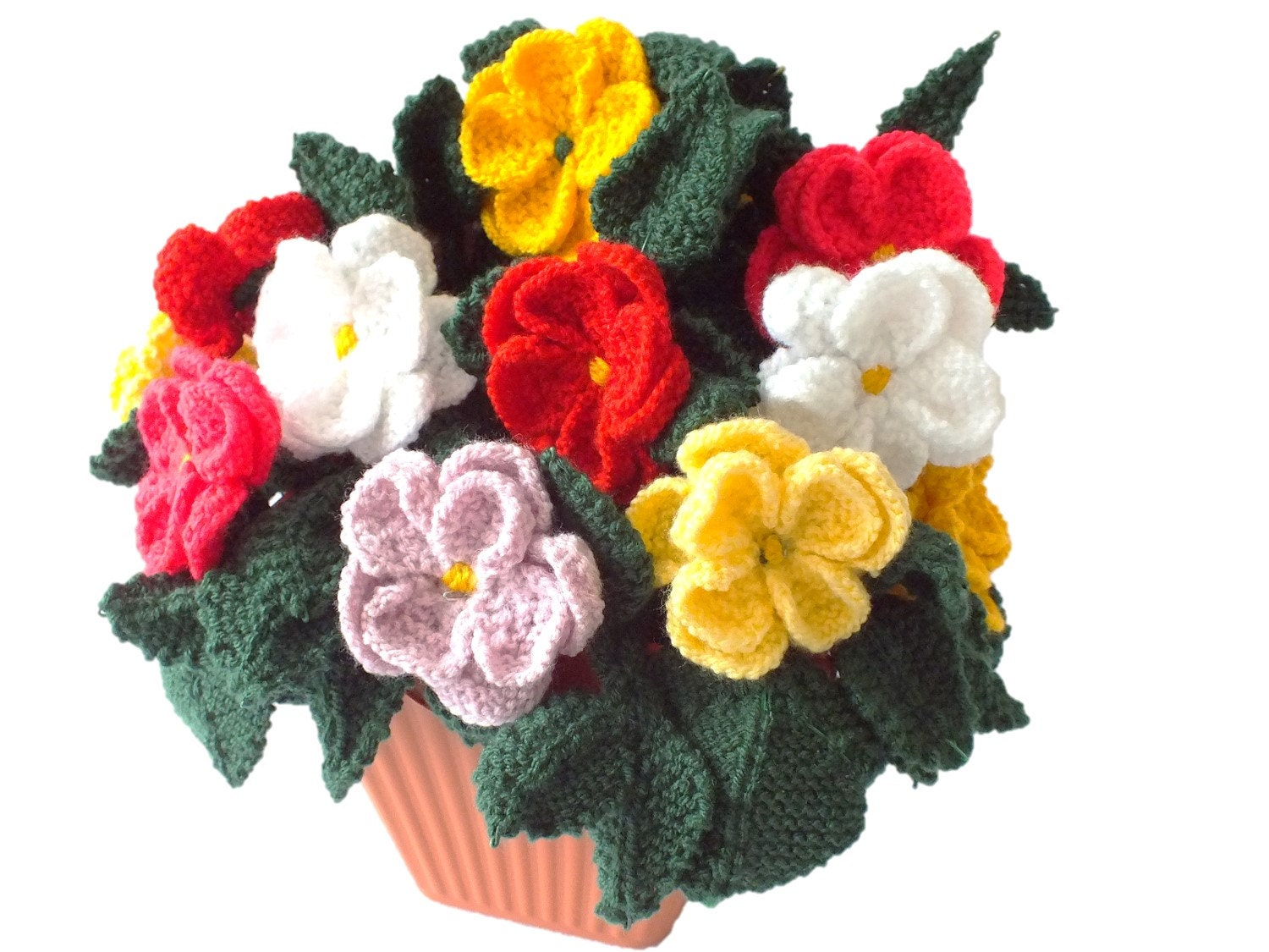 Pot of knitted dahlias, knitting pattern for dahlias, knitted ...