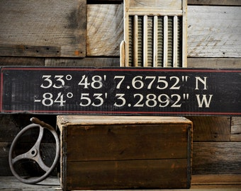 Custom Latitude & Longitude Sign - Rustic Hand Made Vintage Wooden ENS1000715