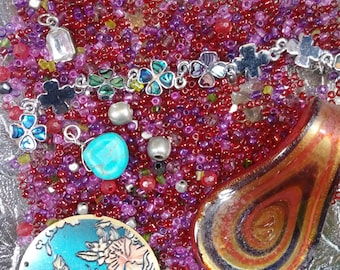 Destash Craft Lot Mixed Seed Beads Charms Glass Pendant Flower Disc Pendant Mixed Bead Lot Junk Lot