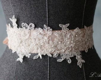 Beaded blush Wedding dress Sash belt, Light pink champagne Bridal dress Belt Accented with Shiny French Lace and Dazzling Beads