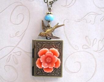 Book Locket Necklace -  orange flower - bird charm