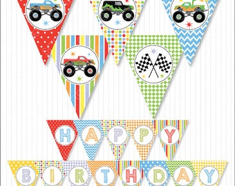 Monster Trucks Party Banners, Bunting Flags, Monster Truck birthday, Monster Trucks party, Digital Printable Banners, INSTANT DOWNLOAD