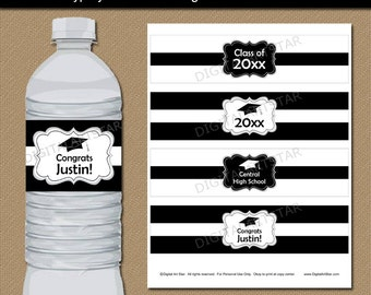Black and White Graduation Water Bottle Label Template - High School Graduation Party Idea - High School Graduation Party Decorations G1