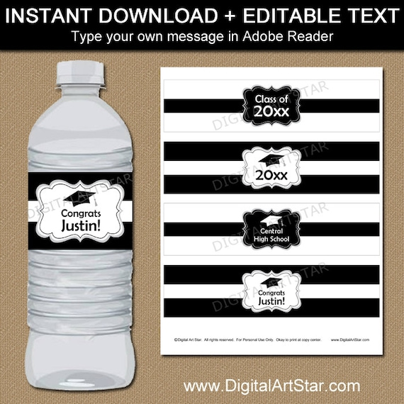 Black and white graduation water bottle label template for Free water bottle label template