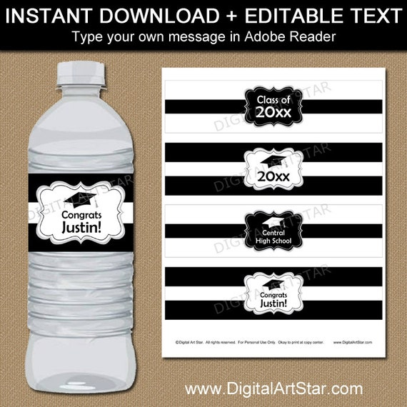 black and white graduation water bottle label template. Black Bedroom Furniture Sets. Home Design Ideas