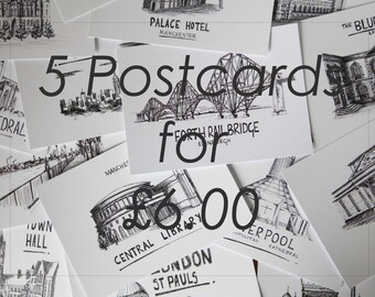 5 Postcards Offer - Mix and Match Postcards - Postcard Deal - Multi Postcard Designs - Postcard Bundle - Postcard Pack - Postcard Landmarks