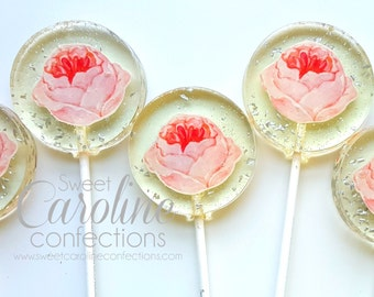 Mothers Day Gift, Flower Lollipops, Garden Party, Rose Party, Spring Favors, Sparkle Lollipops, Sweet Caroline Confections-6/Set