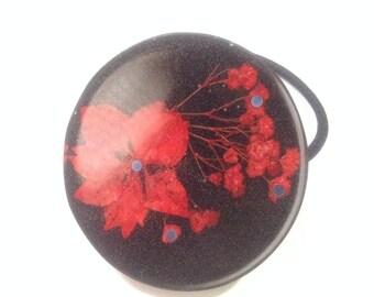 Real Red Larkspur Flowers, Hair Tie Bracelet, Elastic Hair Tie, Ponytail Holder, Gift Giving, Pressed Flowers In Resin, Girls Hair Bow.