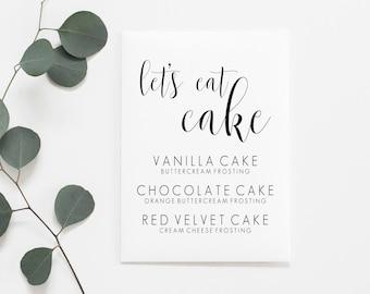 Lets Eat Cake Printable. Lets Eat Cake Sign. Wedding Cake Printable. Wedding Cake Sign. Cake Sign. Cake Printable. Wedding Reception Sign.