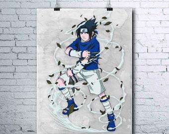 Sasuke Uchiha - Naruto Printables - Anime Decor - Sasuke - Naruto Shippuden - Watercolor Print - Wall Art - Sasuke Poster - Uchiha - Team 7