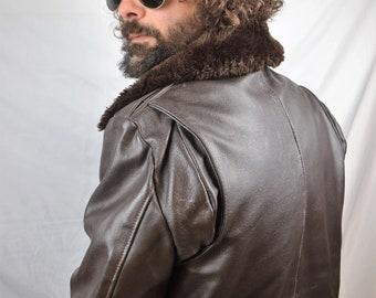 Vintage Excelled Leather Biker Motorcycle Rocker Jacket Coat