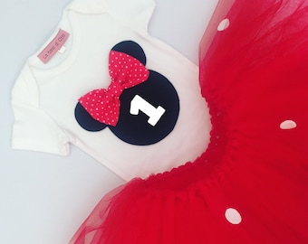 Minnie mouse birthday outfit, minnie mouse outfit, minnie mouse dress, first birthday outfit, tutu dress, minnie mouse tutu, red tutu