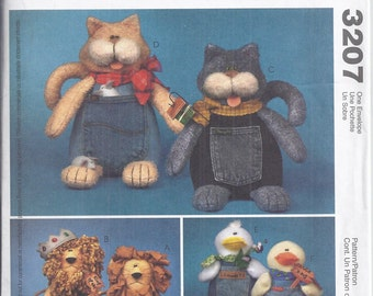 McCall's Crafts 3207 from 2001. Blue Jeans Buddies:  Cats, Lions, Ducks. UNCUT