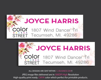 Personalized Color Street Return Address Labels, Color Street Catalog Labels, Color Street Business Card Card CL23