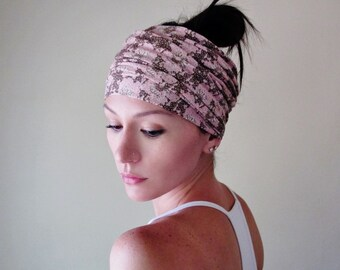 FLORAL PRINT Head Scarf, Extra Wide Headband, Jersey Head Wrap, Womens Hair Accessories, Blush Pink and Brown, Boho Head Scarf Turban
