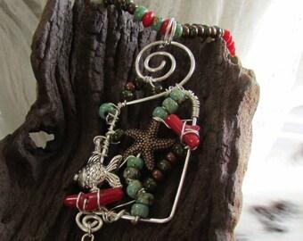 The Ocean Wire Wrapped Art Nouveau Necklace