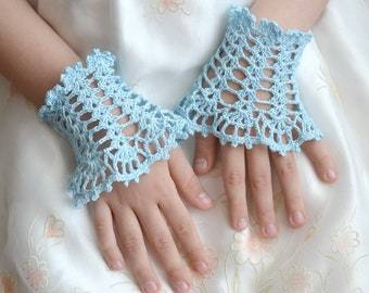 Lace Wrist cuffs, Romantic Crochet Cuffs for  Elegant Little Lady